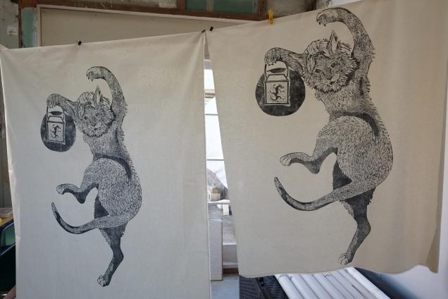 Bakeneko, woodblock prints on calico