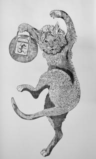 Bakeneko, woodblock print on paper