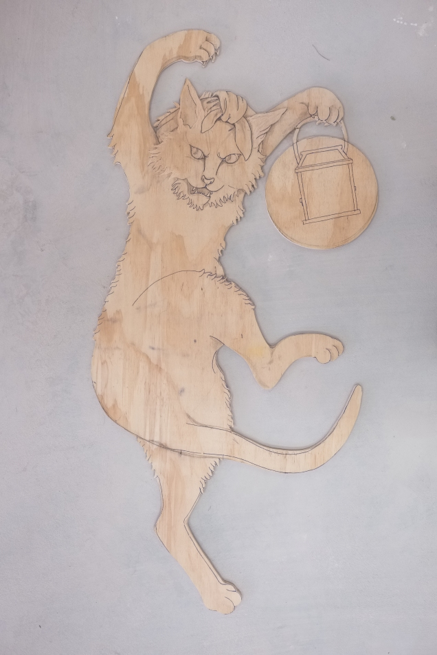 Bakeneko uncut woodblock, plywood