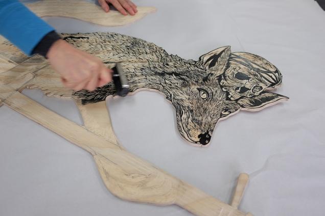 inking Kitsune woodblock