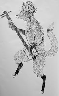 Kisune, woodblock print on paper, 150cm x 110cm