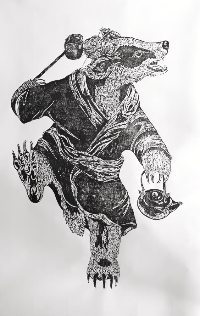 Mujina, woodblock print on paper, 150cm x 120cm